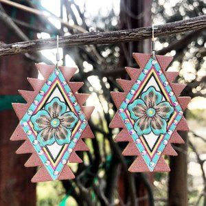 Jewelry - Aztec Floral Leather Earrings